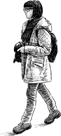 Sketch of a person tourist