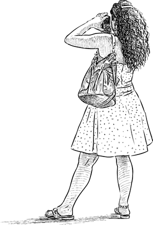 Sketch of a woman in vacation Illustration