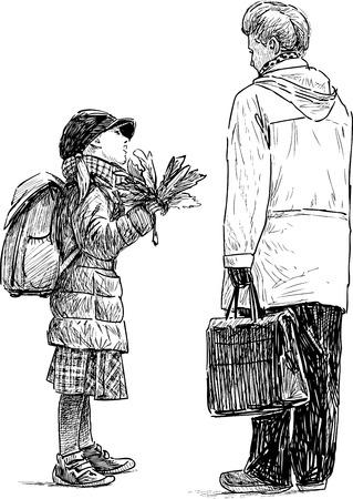 Dessin vectoriel d'une grand-mère avec une petite-fille Banque d'images - 81562463