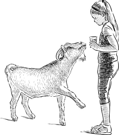 perform: Vector image of a little girl with a goat
