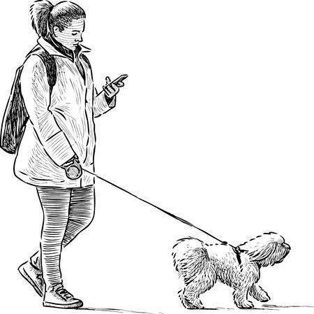 Vector schets van een townswoman wth haar huisdier op een wandeling Stock Illustratie