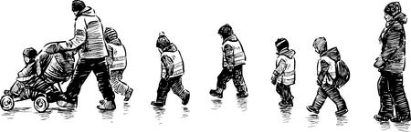 散歩に幼稚園児のベクトル画像  イラスト・ベクター素材