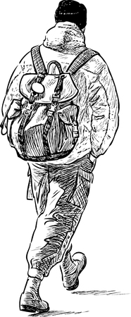 striding: Sketch of a hiking person