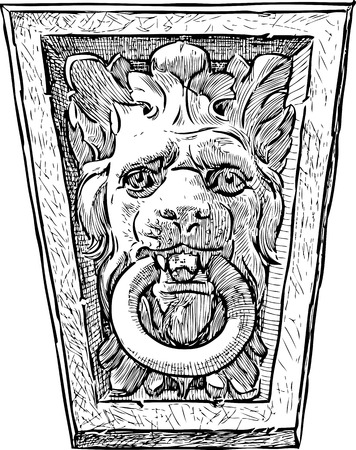 Sketch of an architectural detail in shape of the lion head Stok Fotoğraf - 81636133