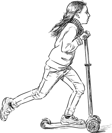 recreational pursuit: A teenage girl rides a scooter