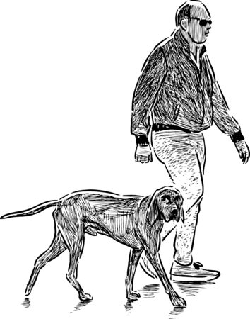 Vector drawing of a townsman with his dog on a stroll