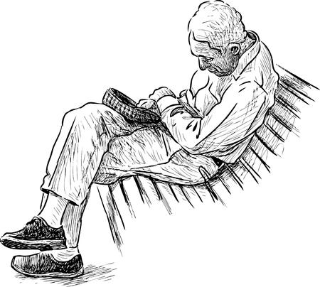 Een oude man slaapt op een bank in het park