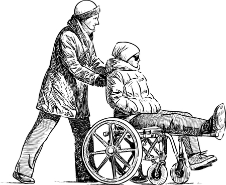 diseased: A patient with his nurse on a stroll