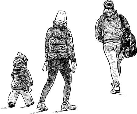 Sketches of the casual city pedestrians