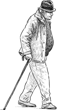 striding: An old man with a cane on a stroll