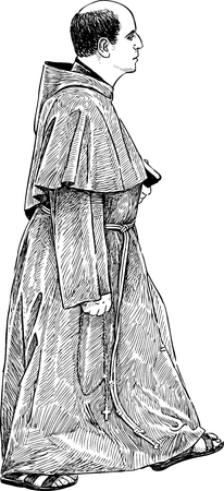 pastor: Vector drawing of a catholic priest Illustration