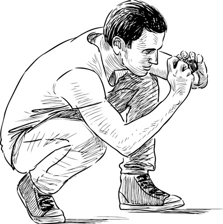 crouching: Sketch of a guy taking a pfoto Illustration