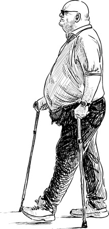 Sketch of a walking man with the canes