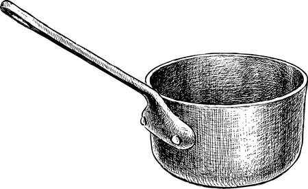 Vector drawing of an old copper ladle