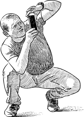 A person takes picture on a cell phone Illustration