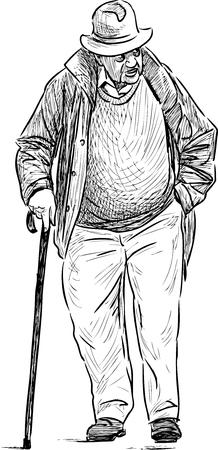 Vectortekening van een oude mens met een riet