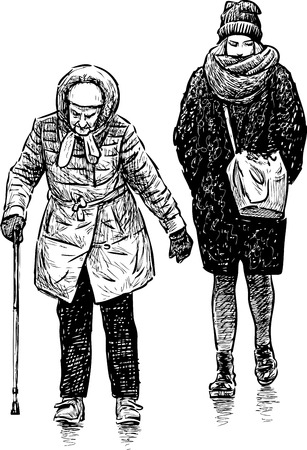 Vector image of the old and young townswomen