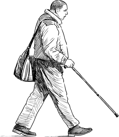 Sketch of a pedestrian with a stick Illustration