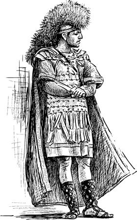 Schets van een persoon in het kostuum van een Romeinse krijger