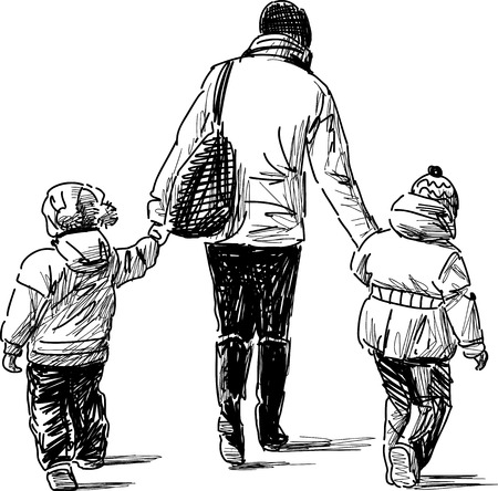 passerby: Sketch of a mother with her kids on a walk Illustration