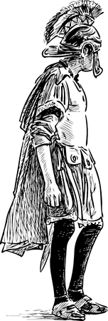 Sketch of a man in the costume of a roman soldier