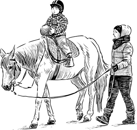 Vector image of the horseback riding lesson