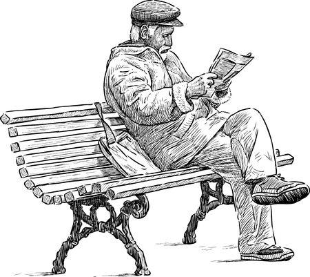 An old man reads a newspaper on the park bench
