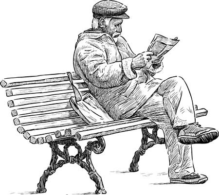 Stary człowiek czyta gazetę na ławce w parku