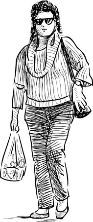 Sketch of a caual girl