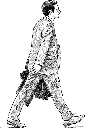 Sketch of a striding businessman