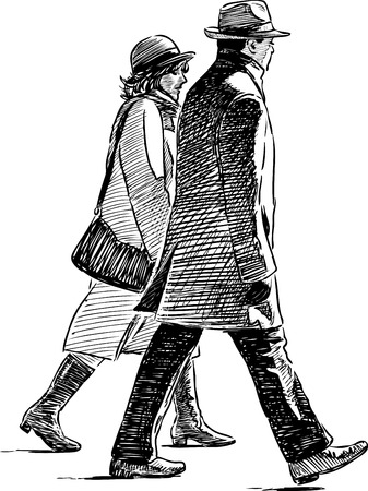 Sketch of the spouses on a stroll Illustration
