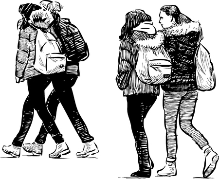 pairs: Sketch of the teens girls on a stroll Illustration