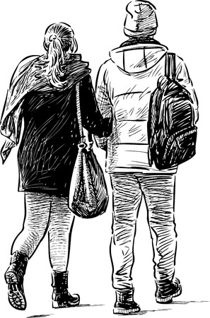 striding: A young couple of townspeople on a stroll
