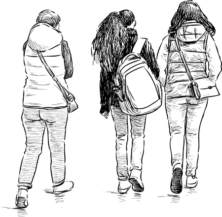 striding: The girl students go to school