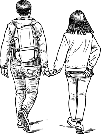 striding: Sketch of the teens couple on a stroll Illustration