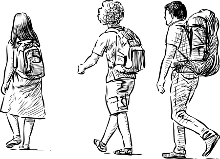 Vector sketch of the tourists teenagers