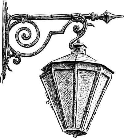 Sketch of a vintage street light Vettoriali
