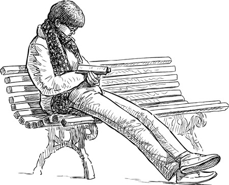 bench alone: A woman reads a book on the park Illustration