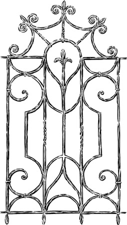 Sketch of a vintage window grill