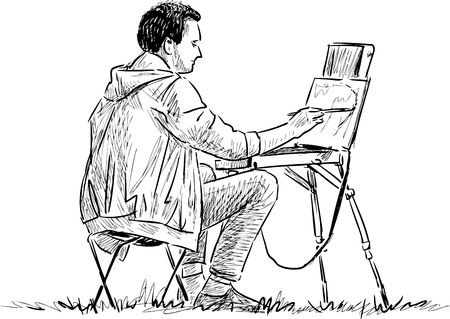 An artist is painting on open air 向量圖像