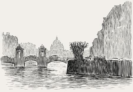 Vectorbeeld van stedelijk scape van een Europese stad Stock Illustratie