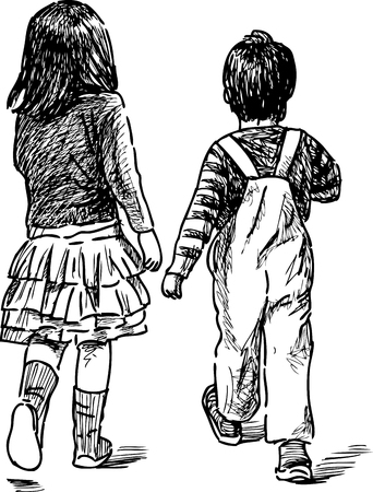Vectoe sketch of a little brother and sister Illustration