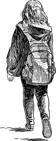 Schets van een nonchalant schoolmeisje verlaten
