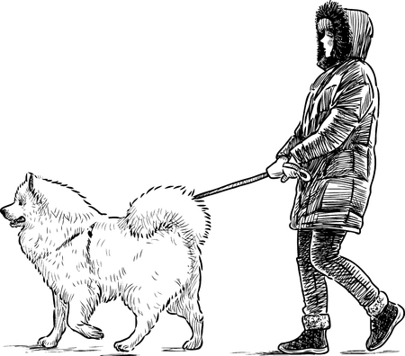 striding: A townspeople walks with her pet