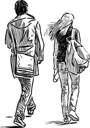 Sketch of young city dwellers Illustration