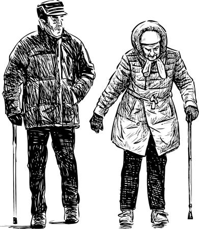Los viejos esposos dan un paseo Foto de archivo - 84226709