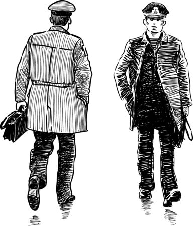 striding: A casual city pedestrian in the uniform Illustration