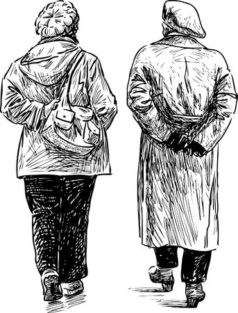 Sketches of the elderly walking Çizim