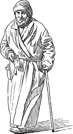 Eine arme alte Bettlerin. Vektor-Illustration. Standard-Bild - 82811064