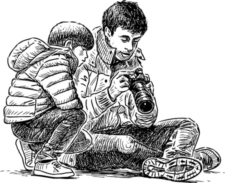 A father with his son taking the pictures Illustration